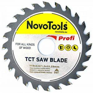 NOVOTOOLS TCT Lame de scie circulaire 115 x 22 mm x 24 dents pour meuleuse d'angle de qualité supérieure - Pour la coupe de bois de la marque NOVOTOOLS image 0 produit